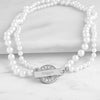 White Personalized Pearl Necklace with Rhinestone Toggle - Upward Mark - 1