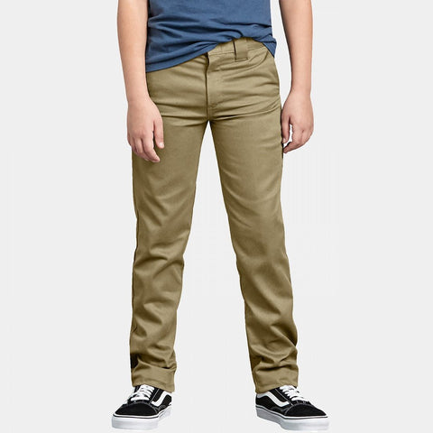 DICKIES SKINNY STRAIGHT FIT YOUTH WORK PANTS - KHAKI