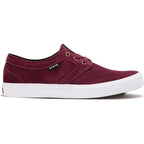 STATE - BISHOP - BLACK CHERRY/WHITE SUEDE
