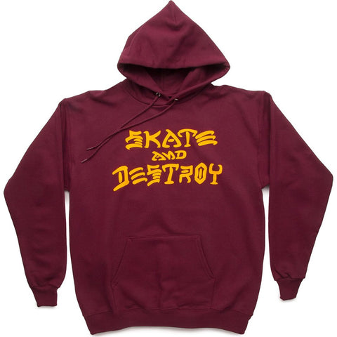 THRASHER - SKATE AND DESTROY HOOD - MAROON