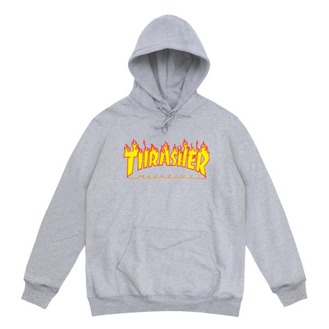 THRASHER - FLAME LOGO HOOD - GREY
