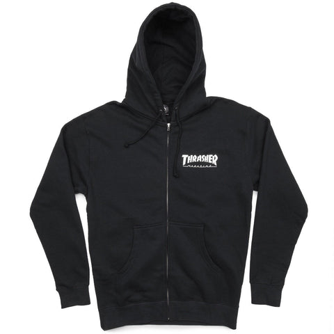 THRASHER - SKATE MAG ZIP UP HOODIE - BLACK
