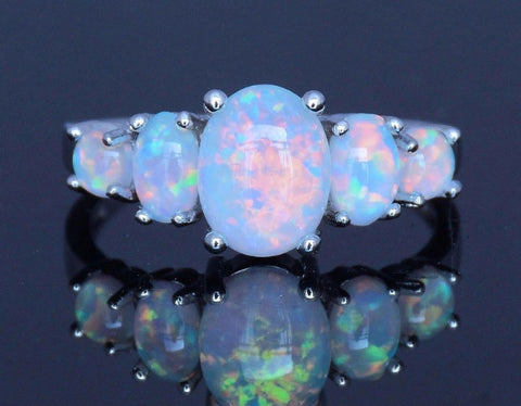 Simulated white fire opals romantic ring silver plated