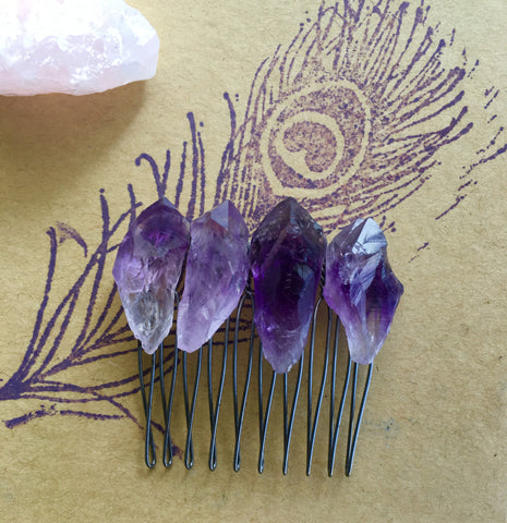 Raw Amethyst or Purple Aura Quartz Crystal hair comb