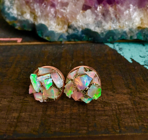 Raw opals mosaic rose gold earring studs - Edward & Ashley Jewelry