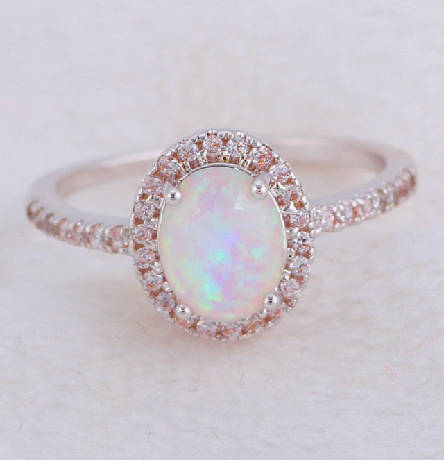 Pretty princess simulated Opal ring