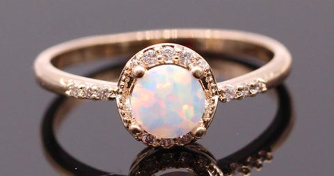 Dainty champagne princess Opal ring