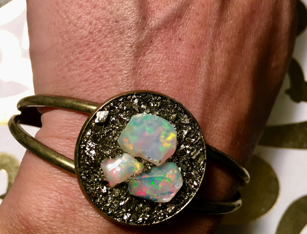 Three raw Opal brass cuff - Edward & Ashley Jewelry