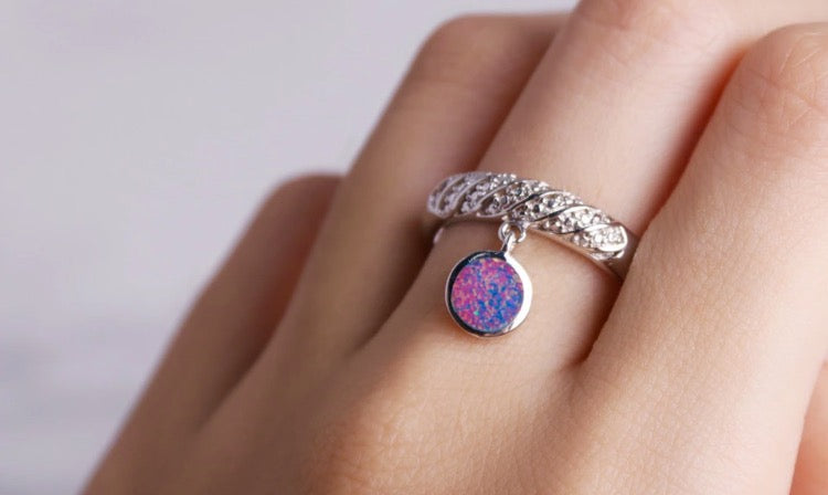 Adorable Sterling ring with dangle Opal charm