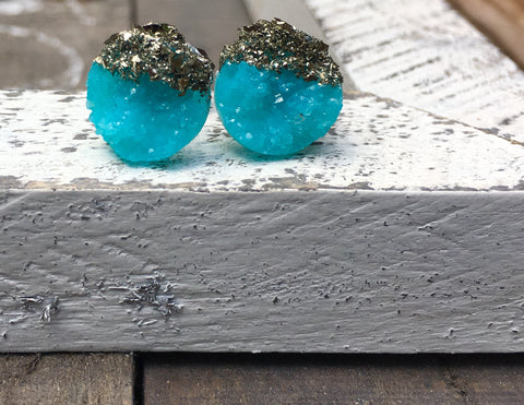 Sea blue Druzy pyrite earrings