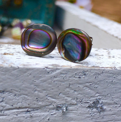 Rose abalone shell earring studs. Stainless steel