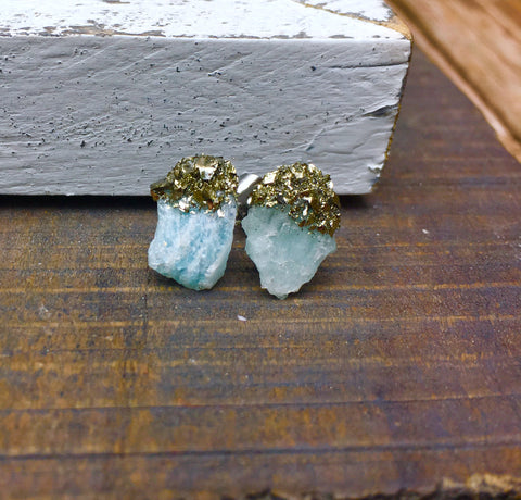 Raw aquamarine sparkly pyrite stainless steel earring studs