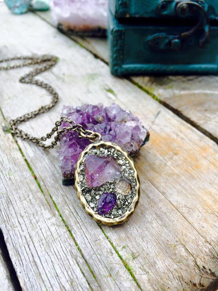 amethyst point and baby herkimer necklace (antique brass) - Edward & Ashley Jewelry