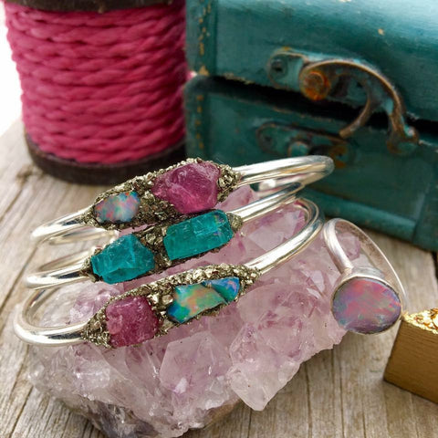 Pink Saphire, Ethiopian Opal/ Ethiopian Opal Sterling Silver Ring/Neon Blue Apatite/ Pink Saphire and Ethiopian Opal Stackable Set - Edward & Ashley Jewelry