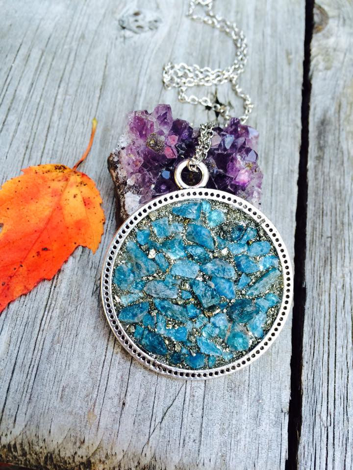 1.5 Inch Silver Plated Circle Pendant with Blue Apatite - Edward & Ashley Jewelry