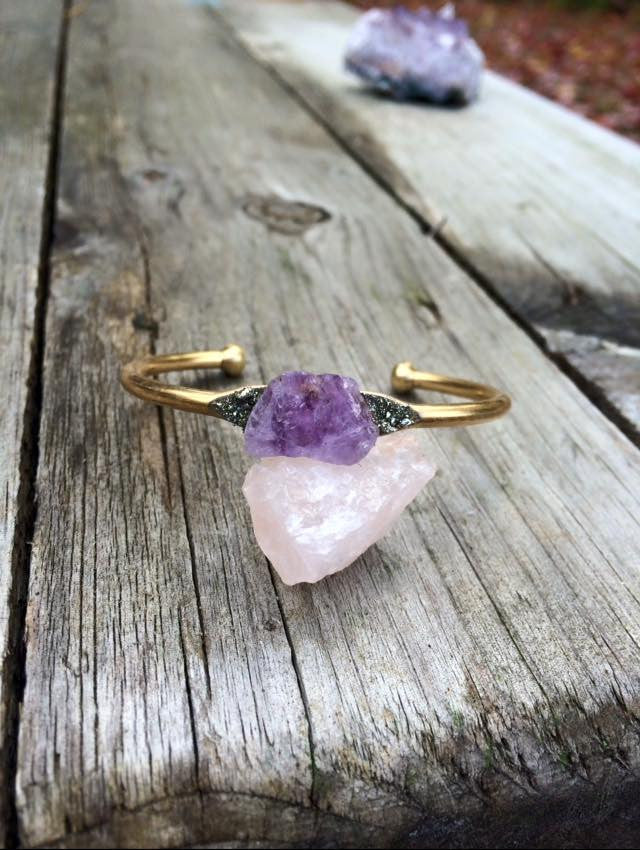 amethyst (light purple) brass bangle - Edward & Ashley Jewelry