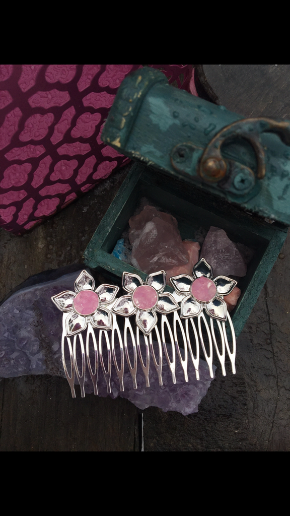 Rose Quartz flower hair comb - Edward & Ashley Jewelry