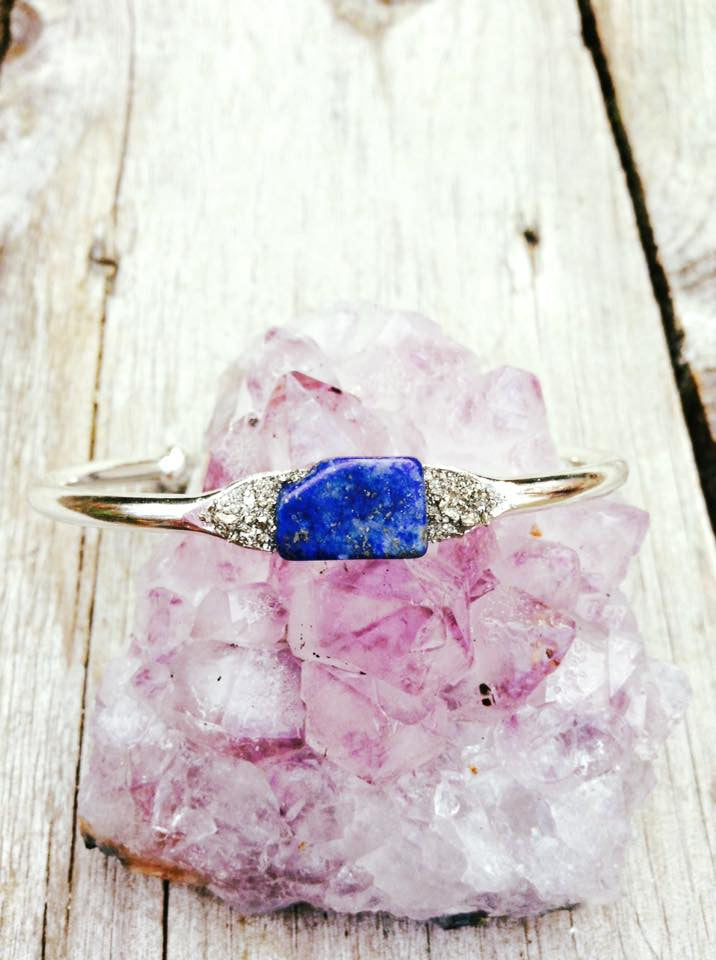 Lapis Lazuli on Silver Plated Bangle - Edward & Ashley Jewelry