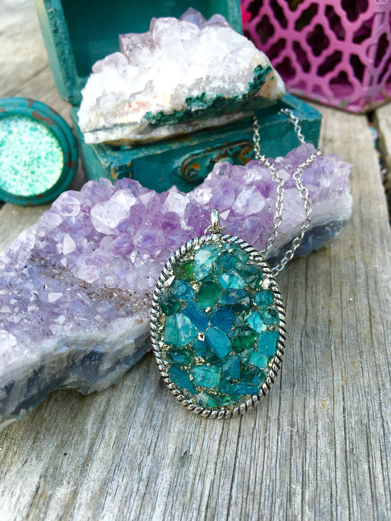 Neon blue apatite and deep green apatite necklace - Edward & Ashley Jewelry