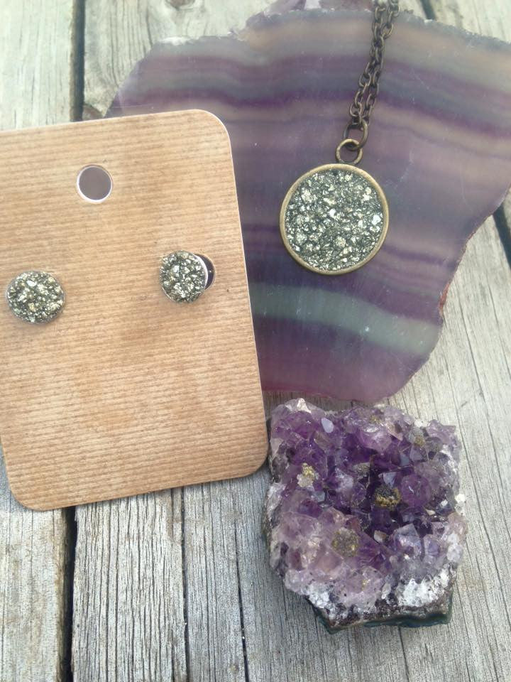 Pyrite Pendant Necklace and Earrings - Edward & Ashley Jewelry
