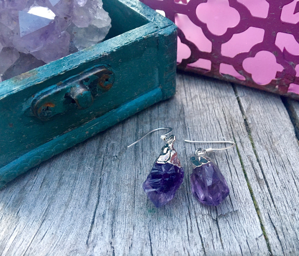 Raw Amethyst Points dangly earrings electro formed silver plate - Edward & Ashley Jewelry