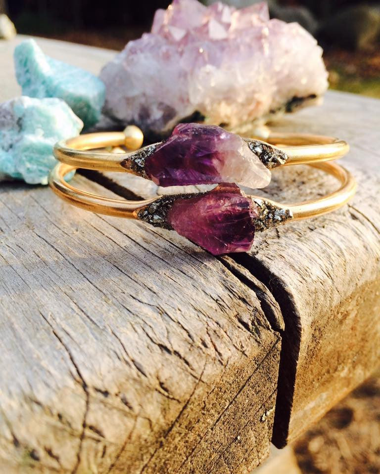 Uruguay Amethyst on Brass Bangle - Edward & Ashley Jewelry