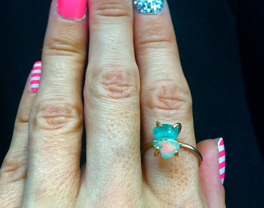 New! Ethiopian opal&neon blue apatite 14k gold filled ring