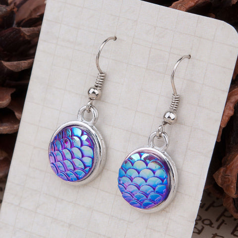 mermaid scale  drop earrings
