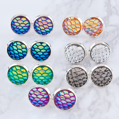 mermaid scale earring studs