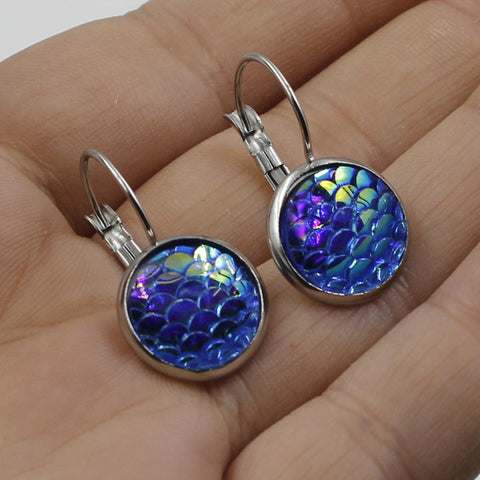12MM Mermaid scale lever back earrings silver plated