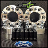 4 WHEEL SPACERS 6X135 1.5 INCH FORD F150 EXPEDITION RAPTOR +24 BLACK SPLINE LUGS - Set Group USA - 1