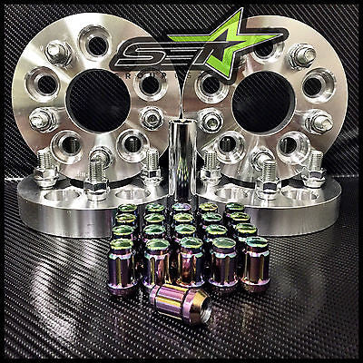5X100 TO 5X114.3 CONVERSION KIT FR-S BRZ WRX 25MM +20 NEO CHROME SPLINE LUG NUTS - Set Group USA