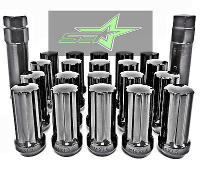 24 Black Spline Lug Nuts | 14X1.5 | Chevy Gmc Silverado Hummer | 6X5.5 + 6X139.7 - Set Group USA
