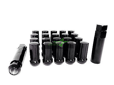 "20 Black 7 Spline Lug Nuts +Key | 9/16 | Dodge | Chrysler | Mitsubishi | 2"" Tall - Set Group USA - 1"