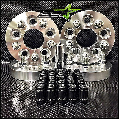 5X100 TO 5X114.3 CONVERSION KIT FR-S BRZ WRX 25MM +20 BLACK SPLINE RACE LUG NUTS - Set Group USA