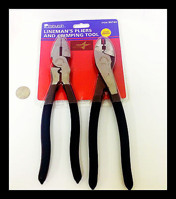 "Electrical Crimping Pliers + Linemans Pliers Combo (Sidecutters) 9.5"" Inch Tall - Set Group USA"