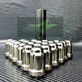 16 Black Chrome Spline Tuner Racing Lug Nuts +2 Keys |12X1.5 | Fits Honda Acura - Set Group USA - 2