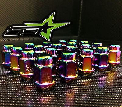 16 Neo Chrome Racing Lug Nuts 12X1.5 | Bulge Acorn Lugs | Fits Most Honda Acura - Set Group USA - 1