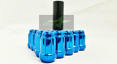 20 Blue Spline Tuner Racing Lug Nuts + 1 Key | 12X1.5 | Fits Honda Acura Toyota - Set Group USA - 1
