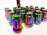 16 Neo Chrome Spline Tuner Racing Lug Nuts 12X1.5 |+2 Key Fits Hyundai Kia 4 Lug - Set Group USA - 4