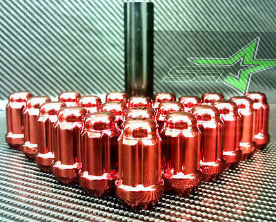 "24 Red Spline Lug Nuts 1.38""Tall 