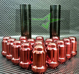 "20 Red Mustang Lug Nuts | 6 Spline Tuner | 1/2""-20 