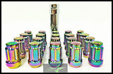 16 Neo Chrome Spline Tuner Racing Lug Nuts 12X1.5 |+2 Key Fits Hyundai Kia 4 Lug - Set Group USA - 8