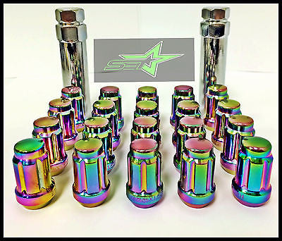 20 Neo Chrome Spline Tuner Racing Lug Nuts 12X1.5 |+2 Keys Fits Most Honda Acura - Set Group USA