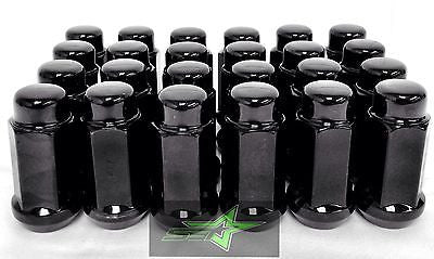 24 Black Truck Lug Nuts | 14X1.5 | Escalade, Silverado, Yukon Land Cruiser 6X5.5 - Set Group USA - 1