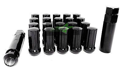 "24 Black Spline Lug Nuts | 14X1.5 Thread Pitch | 6 Lug |+ Security Key Lugs | 2"" - Set Group USA - 1"