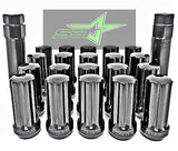 "20 Black 14X1.5 7 Spline Lug Nuts | Acorn Bulge Seat | + Key | 2"" Inch Tall 50Mm - Set Group USA - 2"