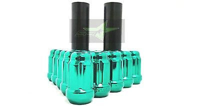 "24 Green Spline Lug Nuts 1.38"" + 2 Keys 