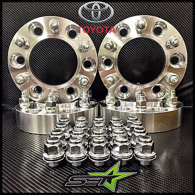 "4 TOYOTA WHEEL SPACERS HUBCENTRIC 6X5.5 | 1"" INCH 25MM +24 TOYOTA OEM MAG LUGS - Set Group USA - 1"