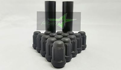 "24 Matte Black Spline Lug Nuts 1.38""Tall 